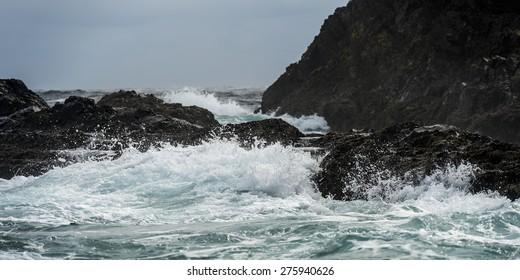 Waves breaking on the coast, Skeena-Queen Charlotte Regional District, Haida Gwaii, Graham Island, British Columbia, Canada