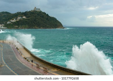 Waves breaking on New Promenade of San Sebastian, Spain
