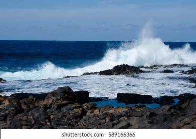 waves breaking on rocks, Gran Canaria