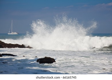 Waves breaking on the shore near Puerto Vallarta, Mexico