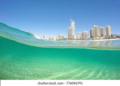 Waves breaking at Surfers Paradise, Gold Coast.