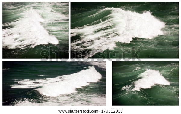 Waves crash and break in the dark ocean - collection of 4 images
