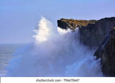Waves crashing against the cliffs of Bufones of Pria on January 18, 2018 in Llanes, Spain.