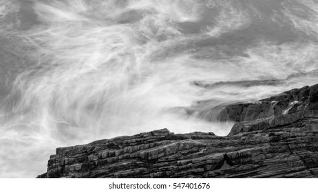 Waves Crashing Against Rocks in Devon J black and white long exposure photography