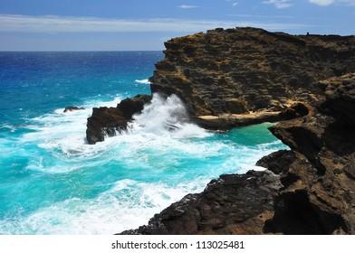 Waves crashing against a rocky coast