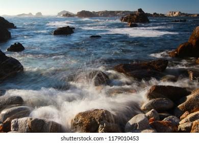 Waves crashing at Asilomar State Beach, near Monterey and Carmel, California, United States of America (USA)