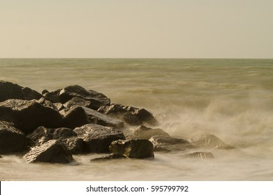 Waves crashing at Milford on Sea, New Forest National Park
