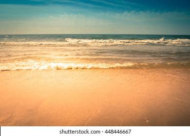 Waves crashing on the beach in Myrtle Beach, South Carolina.