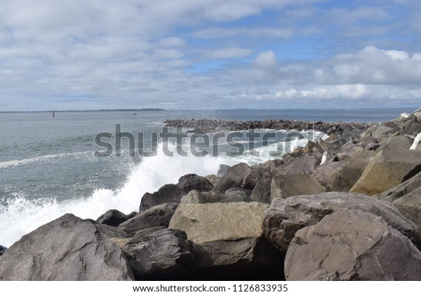 Waves Crashing On Rocks Westport Washington Stock Photo