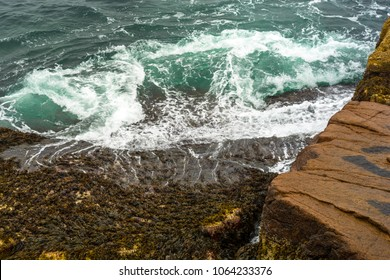 Waves Crashing onto the rocky shore of Acadia National Park, Maine