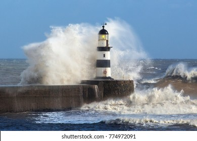 Waves crashing over Seaham Lighthouse on the northeast coast of England.