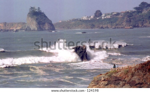 Waves crashing at Trinidad Head in N. California