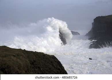 waves crashing,Tour of Spain, the Aguillóns, separating the Atlantic and Cantabrian oldest rocks in the world, Galicia, barnacles, photos of giant waves,