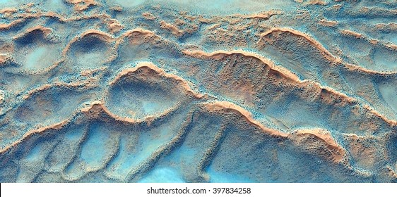 waves in the desert,Turquoise, abstract composition of dune landscape, abstract photography of the deserts of Africa from the air, bird's eye view, abstract expressionism, contemporary art,