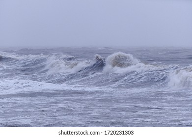 Waves during the storm of Atlantic ocean in the west of France.