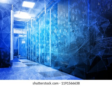 waves of information flows with triangles and particles in the server room of the data center. The concept of hacker attacks and data movement