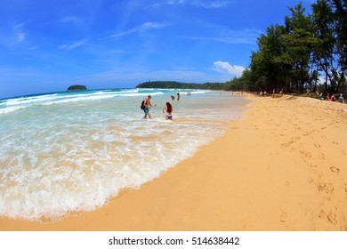 Waves in Kata Beach, Phuket Island in Thailand