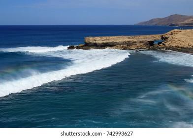Waves at La Pared Beach, Jandia, West Fuerteventura, Canary Islands, Spain.