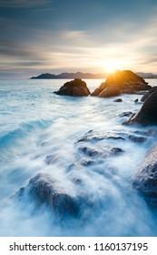 Waves motion on coastline