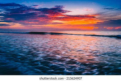 Waves on the Atlantic Ocean at sunrise, St. Augustine Beach, Florida.