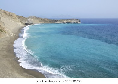 Waves on the beach of  Agios Pavlos on Crete. It is a long sand beach with shallow waters on the south side of the island
