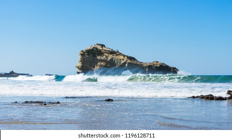 Waves on a beach in Biarritz. Basque country of France.