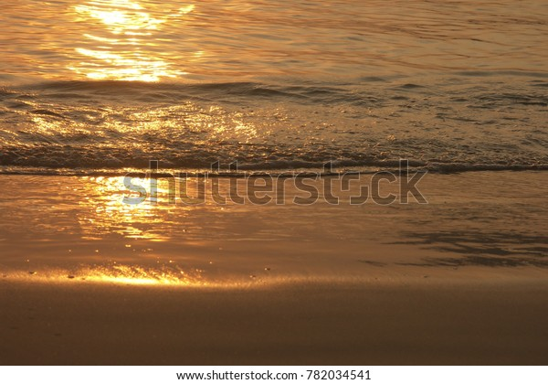 Waves On Beach Golden Reflection Sun Stock Photo Edit Now