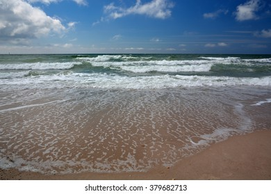 waves on the beach at the island sylt in the North Sea, Germany