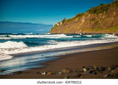 waves on the beach Playa El Socorro, Los Realejos, Puerto de la Cruz, Tenerife, Spain