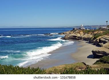 Waves on the California coast line