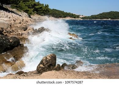 waves on the island Losinj, Croatia