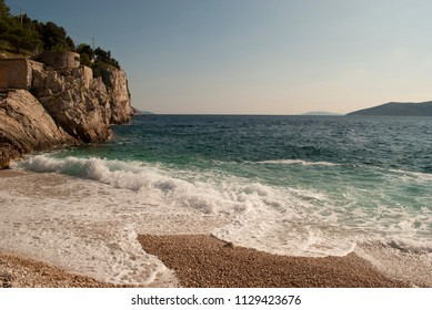 Waves on Istrian beaches in the east, in Croatia
