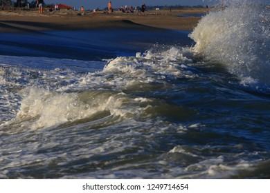 waves on Mediterranean beach in Pyrenees orientales, Roussillon region of France