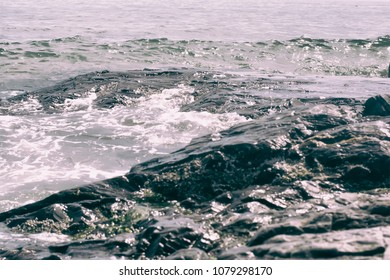 Waves on a rocky coastline