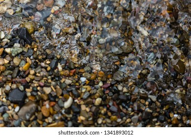 waves on the small pebble beach