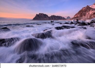 Waves on Uttakleiv beach, Lofoten Islands