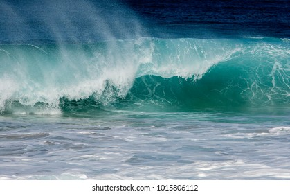 Waves on the west shore of Molokai, Hawaii.