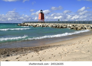 Waves roll in on a fall day at the beach of Charlevoix, Michigan.