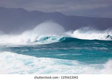 Waves rolling in at Hookipa in northern Maui, Hawaii.