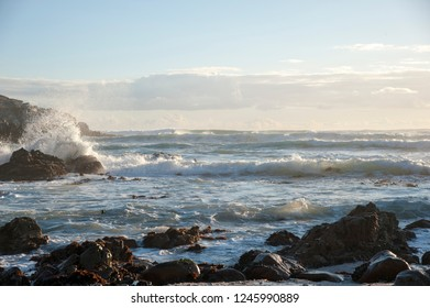 Waves of the sea near a rocky beach in South Africa