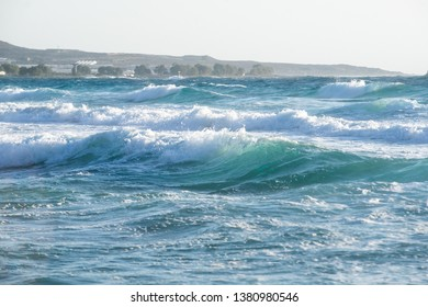 Waves of the sea on the beach Falasarna in Crete