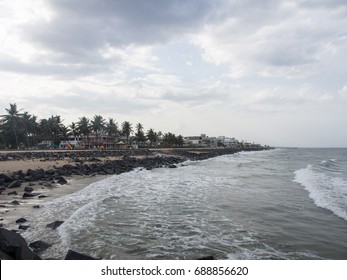 Waves and Seascape of Pondicherry Beach in India