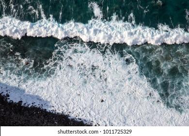 Waves at shoreline of Hawaii
