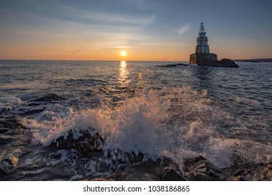Waves at Sunrise near Ahtopol Lighthouse