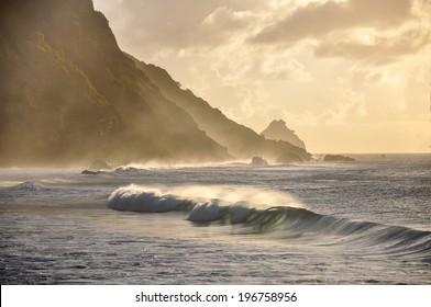 Waves at sunset, Fernando de Noronha archipelago, Pernambuco (Brazil)