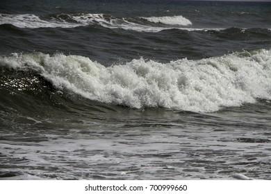 Waves turning in the Mediterranean Sea off Spanish coast