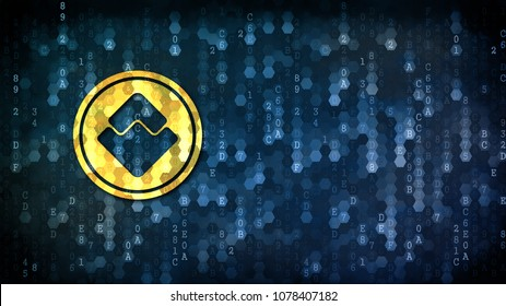 Waves Virtual Currency. Yellow Coin Image on the Digital Background with Blank Copyspace for Advertising.