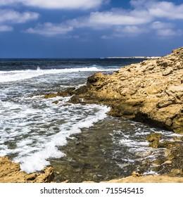 Waves wash coast of the Akamas Peninsula