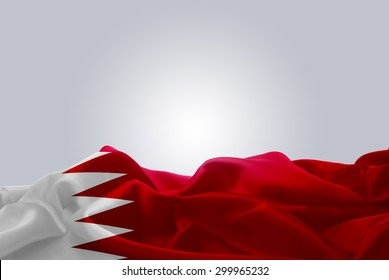 waving abstract fabric Bahrain flag on Gray background