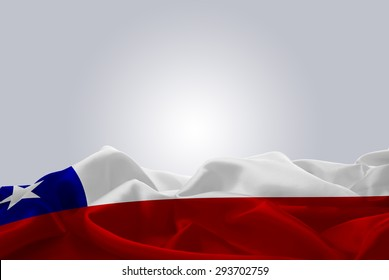 waving abstract fabric Chile flag on Gray background